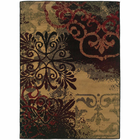 Camden Beige Black Abstract Scrolls Transitional Rug