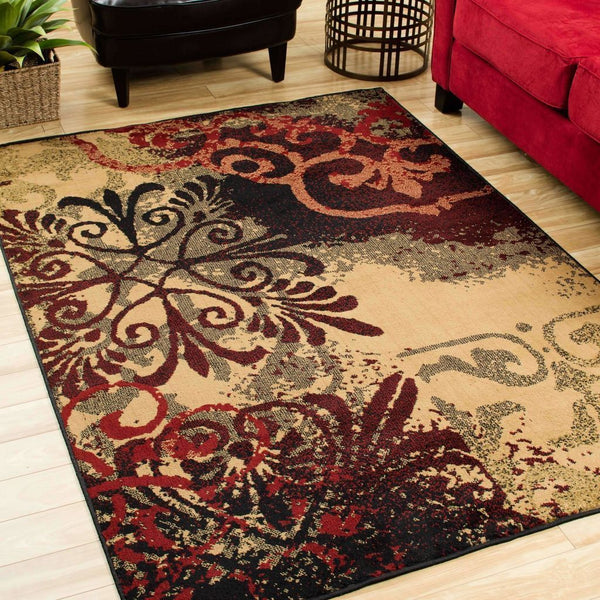 Woven - Camden Beige Black Abstract Scrolls Transitional Rug