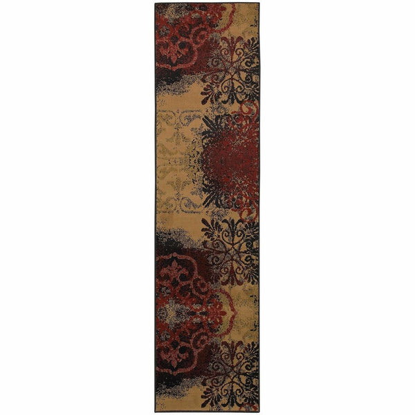 Camden Beige Black Abstract Scrolls Transitional Rug - Free Shipping