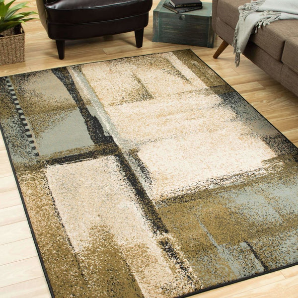 Woven - Camden Beige Blue Abstract Blocks Contemporary Rug