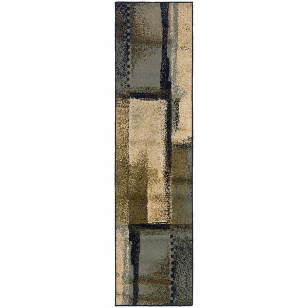 Camden Beige Blue Abstract Blocks Contemporary Rug - Free Shipping