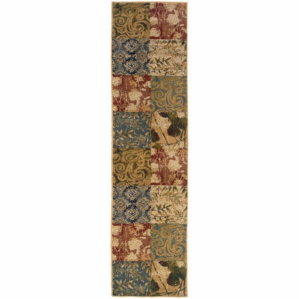 Camden Beige Green Floral  Transitional Rug - Free Shipping