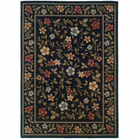 Camden Black Green Floral  Traditional Rug