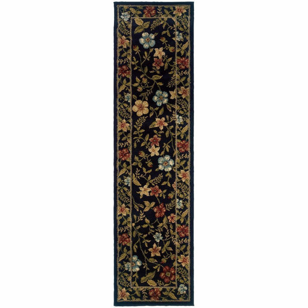 Camden Black Green Floral  Traditional Rug - Free Shipping