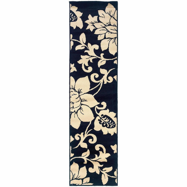 Camden Black Ivory Floral  Contemporary Rug - Free Shipping