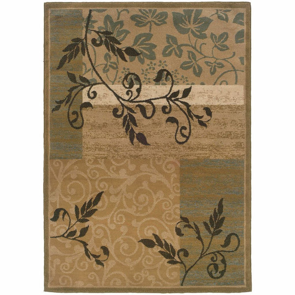 Camden Gold Green Floral  Transitional Rug - Free Shipping