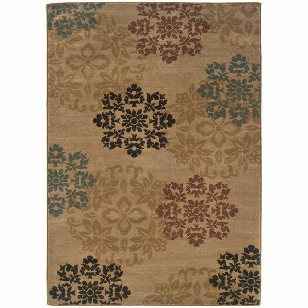 Camden Gold Red Floral  Transitional Rug - Free Shipping