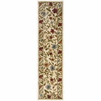 Camden Ivory Beige Floral  Traditional Rug - Free Shipping