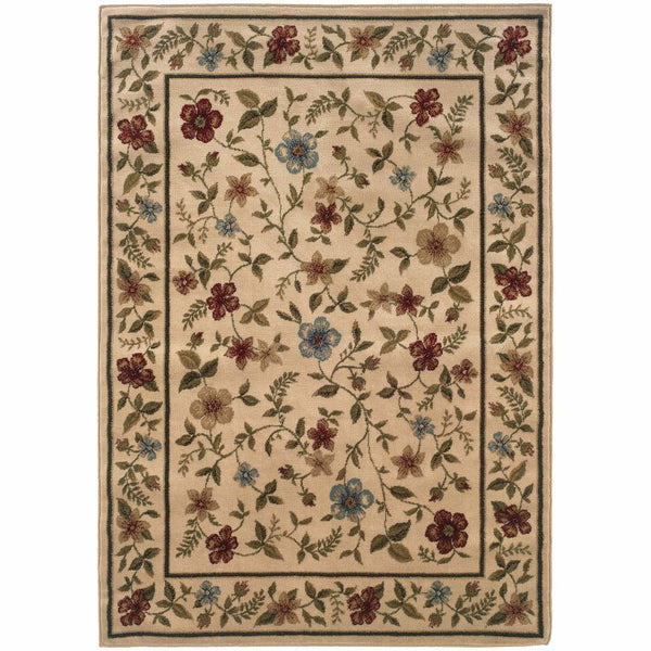 Woven - Camden Ivory Beige Floral  Traditional Rug