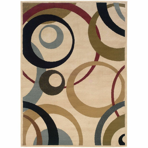 Camden Ivory Beige Geometric Circles Contemporary Rug