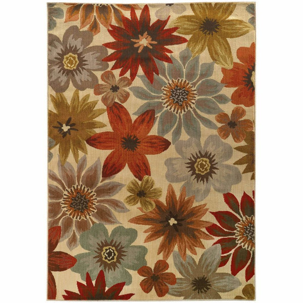 Casablanca Beige Blue Floral  Transitional Rug - Free Shipping