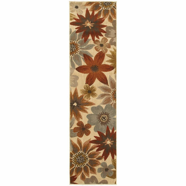 Woven - Casablanca Beige Blue Floral  Transitional Rug