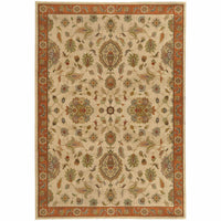 Casablanca Beige Rust Floral  Traditional Rug - Free Shipping