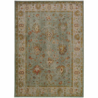 Casablanca Blue Grey Oriental Traditional Traditional Rug - Free Shipping