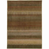 Casablanca Brown Green Geometric  Transitional Rug - Free Shipping