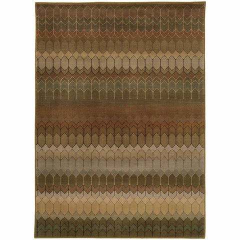 Oriental Weavers Casablanca Brown Green Geometric  Transitional Rug