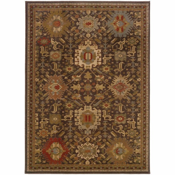 Casablanca Brown Multi Oriental Traditional Traditional Rug - Free Shipping