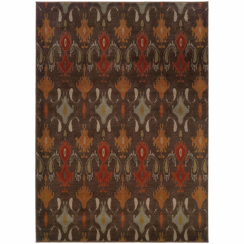 Casablanca Brown Orange Floral Ikat Transitional Rug
