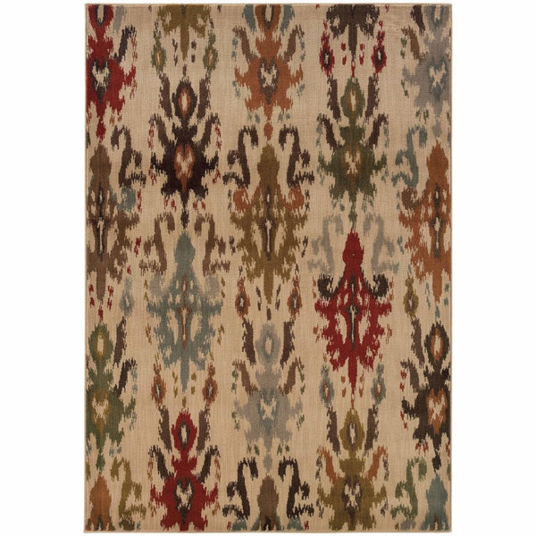 Casablanca Ivory Multi Floral Ikat Transitional Rug - Free Shipping