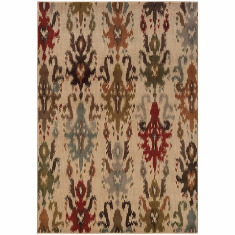 Oriental Weavers Casablanca Ivory Multi Floral Ikat Transitional Rug