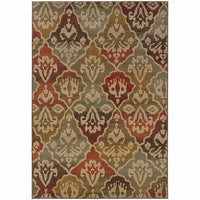 Casablanca Multi Beige Floral Ikat Transitional Rug - Free Shipping