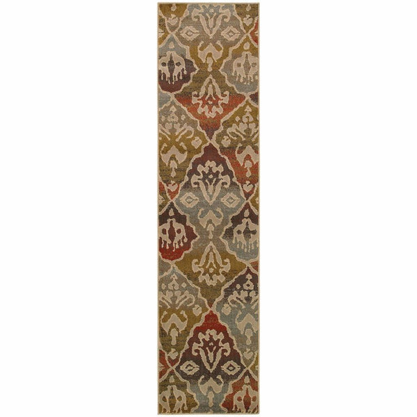 Woven - Casablanca Multi Beige Floral Ikat Transitional Rug