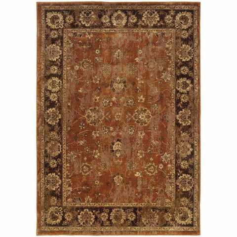 Casablanca Orange Brown Oriental Traditional Traditional Rug