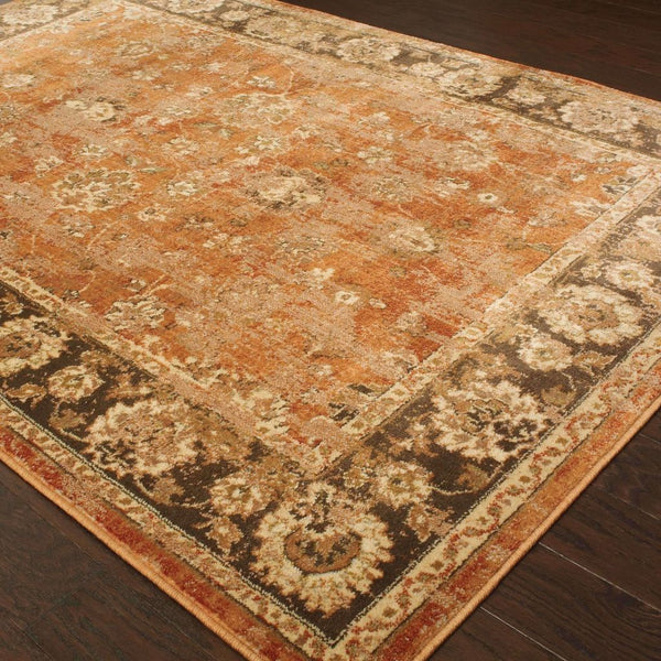 Woven - Casablanca Orange Brown Oriental Traditional Traditional Rug
