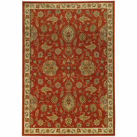 Casablanca Red Beige Floral  Traditional Rug - Free Shipping