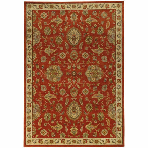 Oriental Weavers Casablanca Red Beige Floral  Traditional Rug