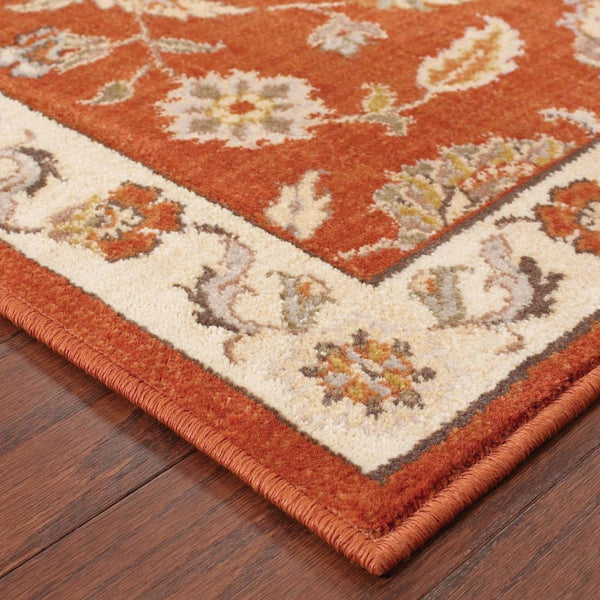Woven - Casablanca Red Beige Floral  Traditional Rug