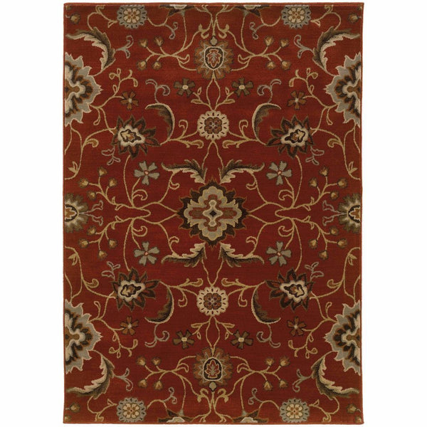Casablanca Red Multi Floral  Transitional Rug - Free Shipping