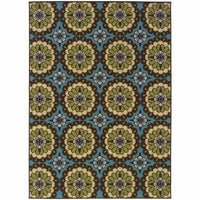 Caspian Blue Brown Floral  Outdoor Rug - Free Shipping