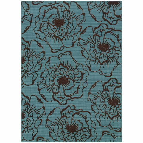 Caspian Blue Brown Floral  Outdoor Rug