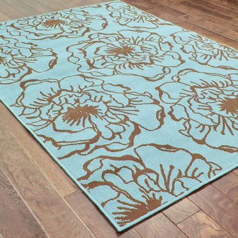 Oriental Weavers Caspian Blue Brown Floral  Outdoor Rug