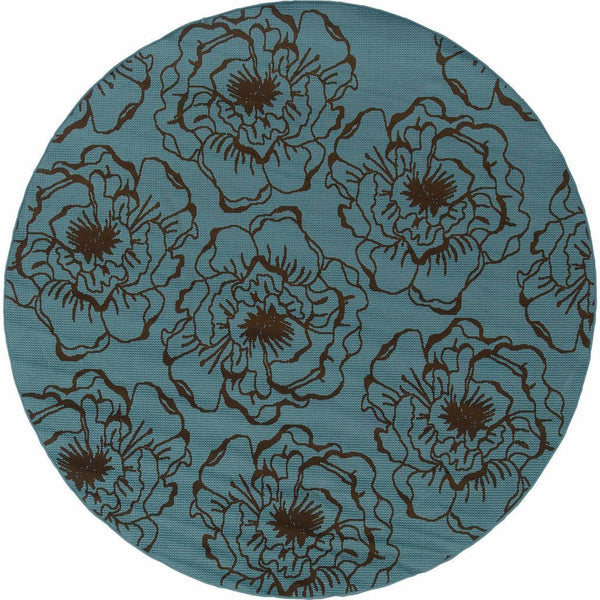 Woven - Caspian Blue Brown Floral  Outdoor Rug