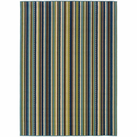 Caspian Blue Brown Stripe  Outdoor Rug