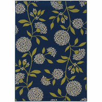 Caspian Blue Green Floral  Outdoor Rug - Free Shipping