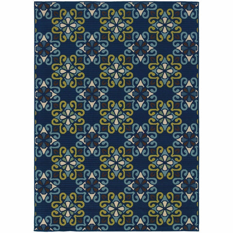 Caspian Blue Green Floral  Outdoor Rug