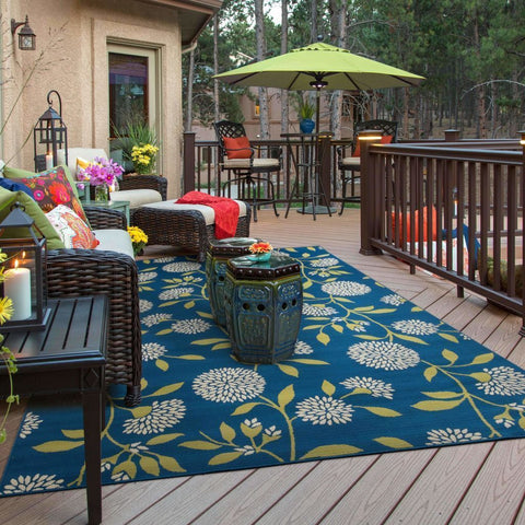 Oriental Weavers Caspian Blue Green Floral  Outdoor Rug