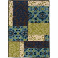 Caspian Brown Blue Geometric Patchwork Outdoor Rug - Free Shipping