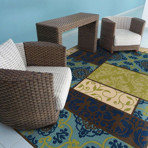 Oriental Weavers Caspian Brown Blue Geometric Patchwork Outdoor Rug
