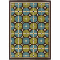 Caspian Brown Blue Geometric Tile Outdoor Rug - Free Shipping
