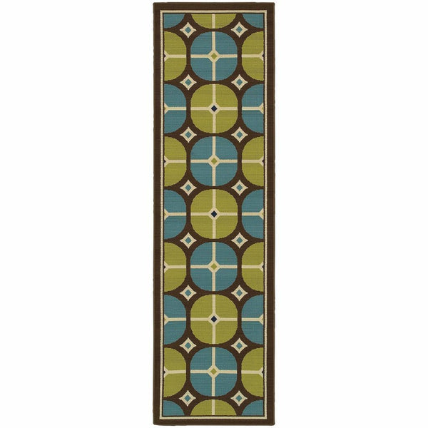 Woven - Caspian Brown Blue Geometric Tile Outdoor Rug