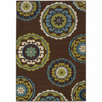 Caspian Brown Green Medallion  Outdoor Rug - Free Shipping