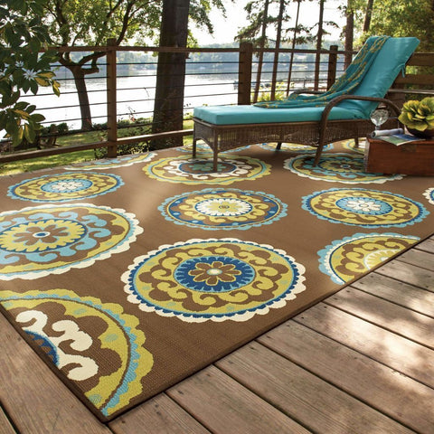 Oriental Weavers Caspian Brown Green Medallion  Outdoor Rug