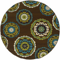 Woven - Caspian Brown Green Medallion  Outdoor Rug