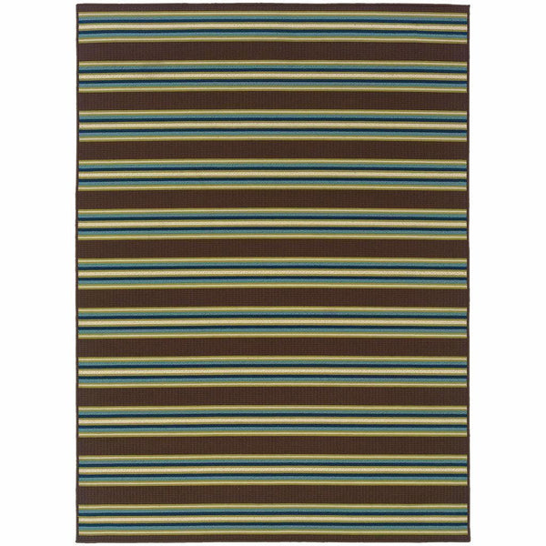 Caspian Brown Green Stripe  Outdoor Rug - Free Shipping