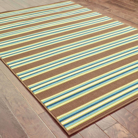 Oriental Weavers Caspian Brown Green Stripe  Outdoor Rug