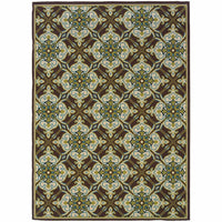 Caspian Brown Ivory Floral  Outdoor Rug - Free Shipping